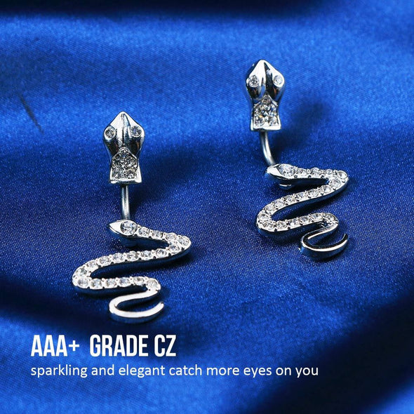 14G Slithering Snake Belly Button Ring with Clear CZ Gem Body Piercing Jewelry