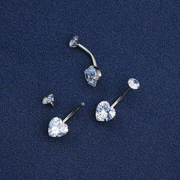 14G Round & Heart CZ Titanium Belly Button Ring Body Piercing