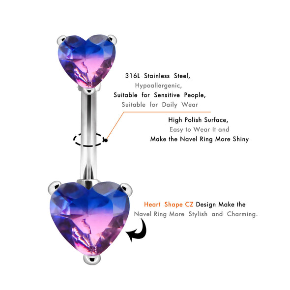 purple heart belly button ring