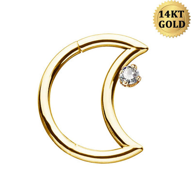 16G 14K Solid Gold Daith Cartilage Earring Moon Shape Helix Tragus Clear Cubic Zirconia