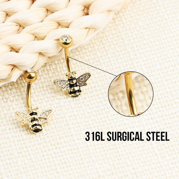 14G Golden Bee Belly Button Ring Stainless Steel Body Jewelry - OUFER BODY JEWELRY