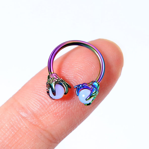 rainbow dragon claw septum ring - oufer body jewelry