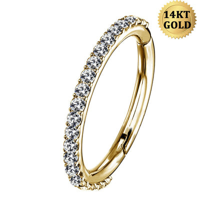 16G 14KT Gold Nose Hoop Ring Clear CZ 16G Helix Earrings Piercings Clicker