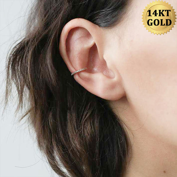 14K Real Gold Conch Earring 16G Side CZ Nose Ring - OUFER BODY JEWELRY