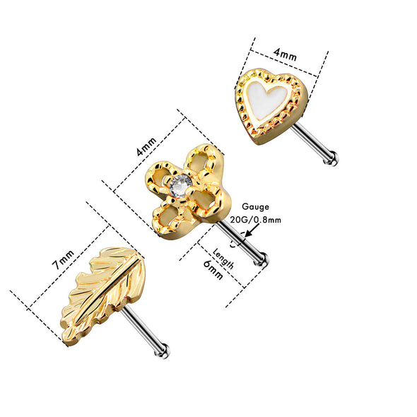3Pcs Set 20G Nose Studs Stainless Steel Gold Micro Nose Ring