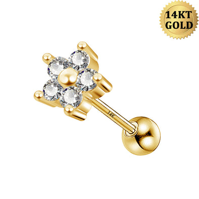 14K Gold Solitaire Cubic Zirconia Cartilage Earrings 16g Flower Design Helix Stud Rings Solid