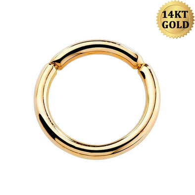 14K Gold Segment Ring 16G Cartilage Helix Daith Conch Tragus Earrings Hoop Septum Eyebrow Piercings