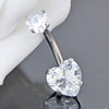 14G 316L Stainless Steel Crystal Heart Belly Button Ring