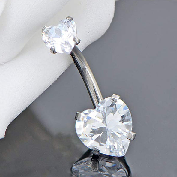 heart cz belly button ring