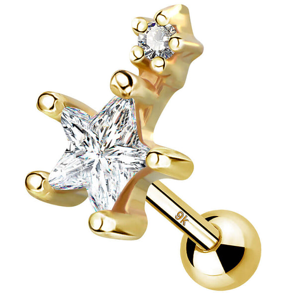 9K Solid Gold Cartilage Earrings 16G CZ Star Stud Jewelry Gold Piercing Jewelry - OUFER BODY JEWELRY