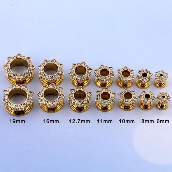 Gold Flower with Cubic Zirconia Threaded Ear Plugs and Tunnels - OUFER BODY JEWELRY