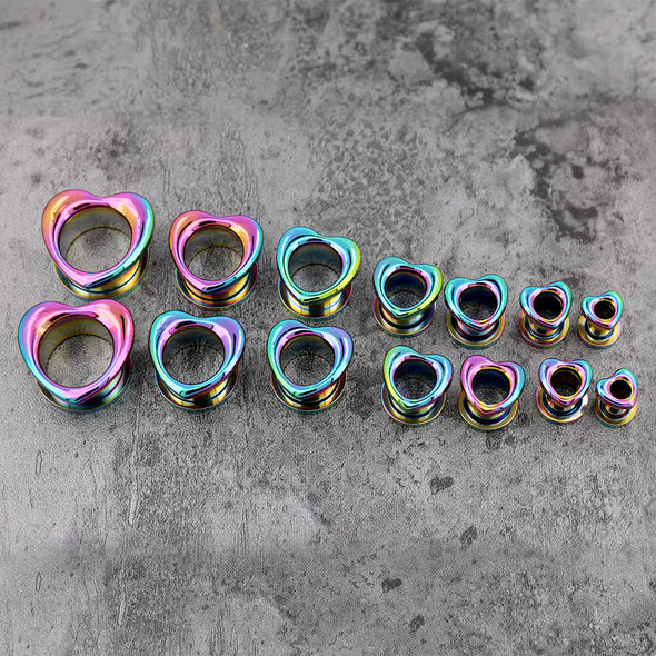 Rainbow Plated Heart Steel Screw Ear Plugs and Tunnels - OUFER BODY JEWELRY