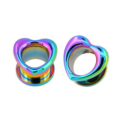 Rainbow Plated Heart Steel Screw Ear Plugs and Tunnels Set