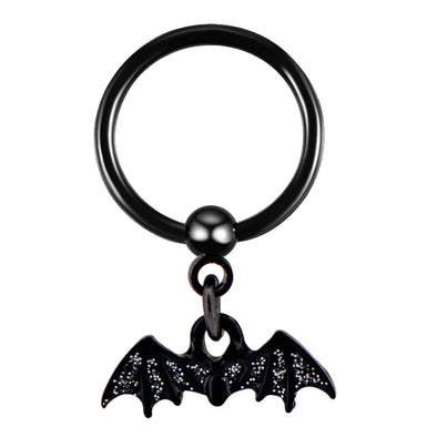 3/8'' Bat Dangle Black Bead Septum Ring - OUFER BODY JEWELRY