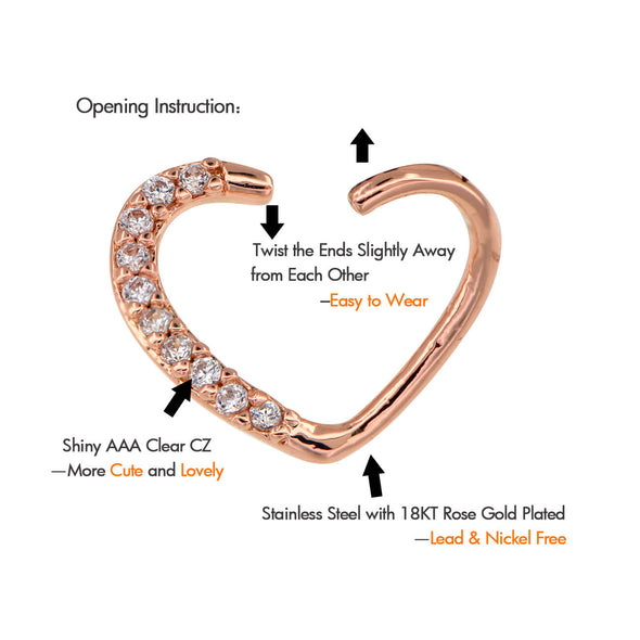 16G CZ Cluster Heart Bendable Rose Gold Daith Earring - OUFER BODY JEWELRY