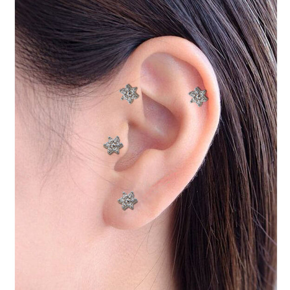 16G 316L Surgical Steel Crystal Flower Cartilage, Helix, Lobe, Tragus Earring