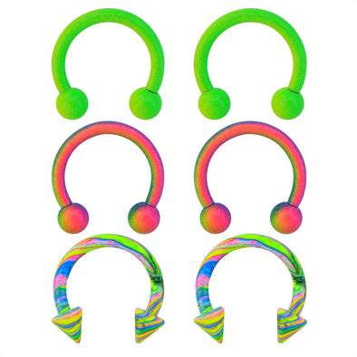 6PCS 16G Stainless Steel Horseshoe Circular Barbells Rainbow Green Paint Horseshoe Rings Daith Earring Helix Tragus Eyebrow Piercing Jewelry