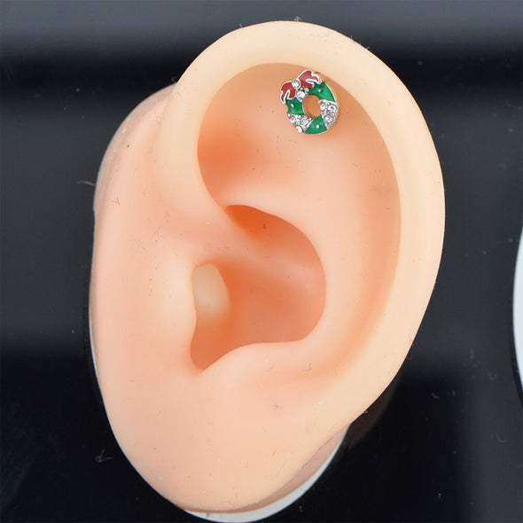 16G Christmas Wreath Gold Helix and Upper Lobe Piercing Stud - OUFER BODY JEWELRY