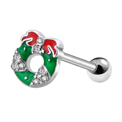 16G Christmas Wreath Silver Cartilage Helix Piercing Stud Tragus Earring Conch Lobe Jewelry