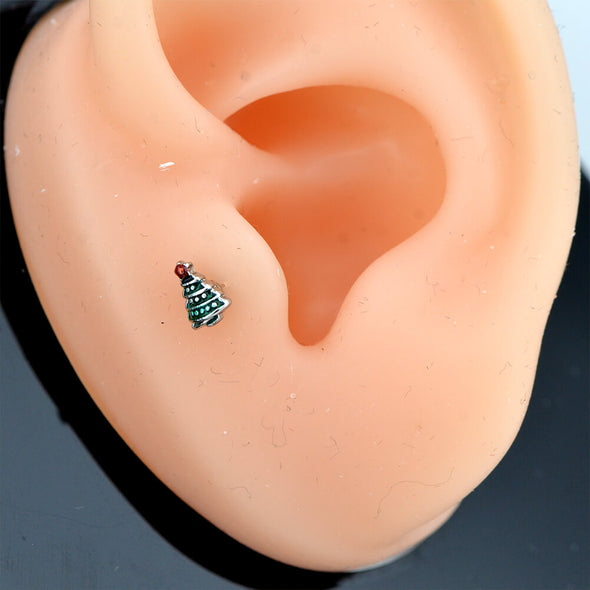 16G Christmas Tree Ball End Tragus Helix Piercing Stud