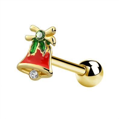 16G Christmas Bell Gold Helix Stud Earring - OUFER BODY JEWELRY
