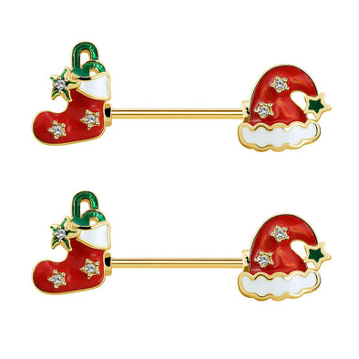 2Pcs 14G Stocking and Hat Christmas Gold Nipple Barbell - OUFER BODY JEWELRY