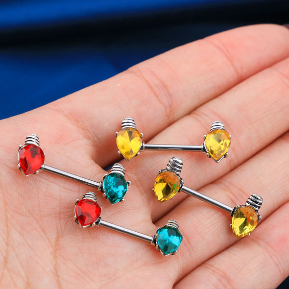 2Pcs 14G Colorful Lamp bulb Stainless Steel Nipple Barbell - OUFER BODY JEWELRY