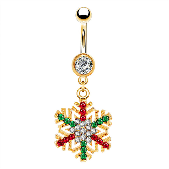 oufer snowflake gold dangle belly button rings