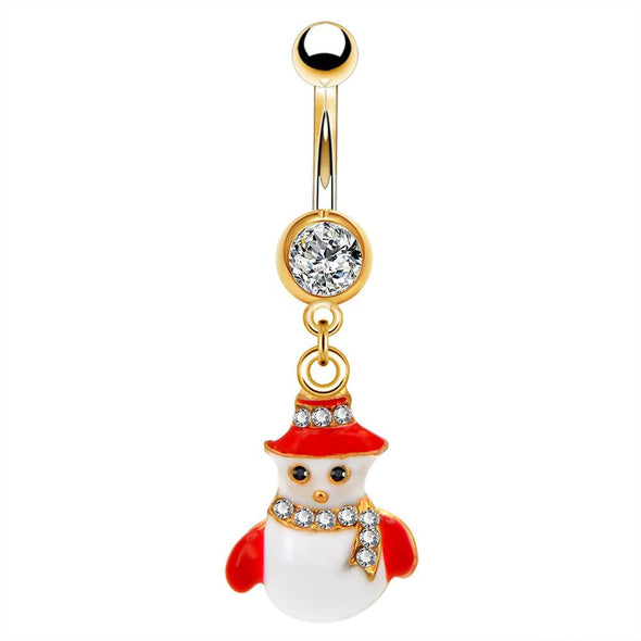 14G Christmas Snowman Gold Belly Button Barbell - OUFER BODY JEWELRY