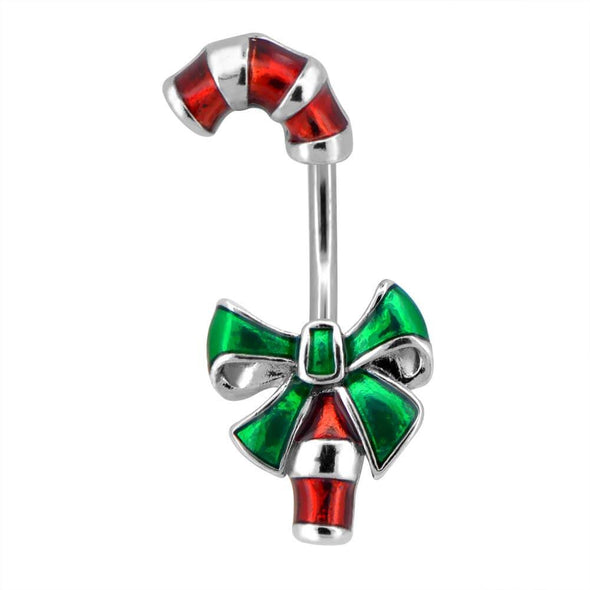 candy cane steel belly rings