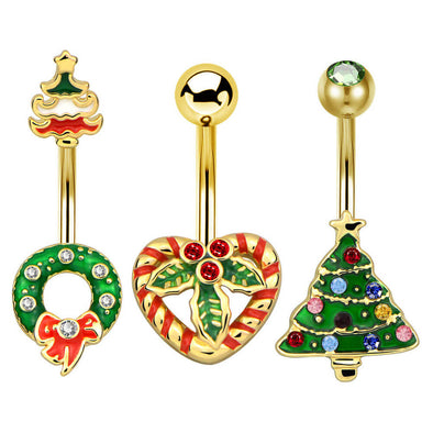 14G Christmas Mistletoe Wreath Christmas Tree Gold Belly Ring - OUFER BODY JEWELRY
