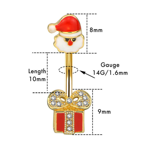 14G Santa and Gift-box Gold Belly Button Ring - OUFER BODY JEWELRY