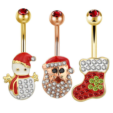 14G Christmas Santa Claus Boots Snowman Gold Belly Ring - OUFER BODY JEWELRY