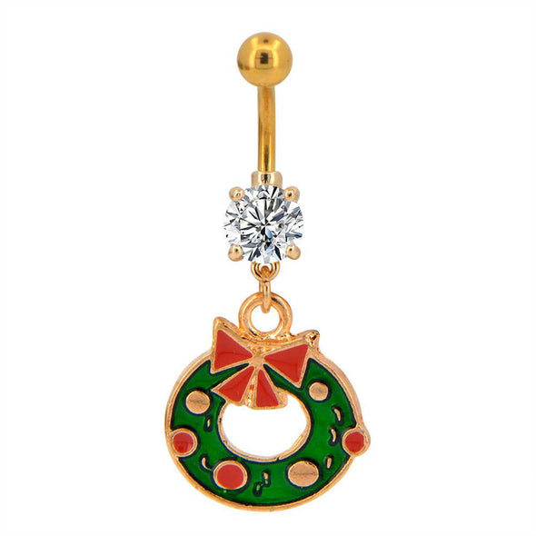 14G Christmas Wreath Navel Rings - OUFER BODY JEWELRY