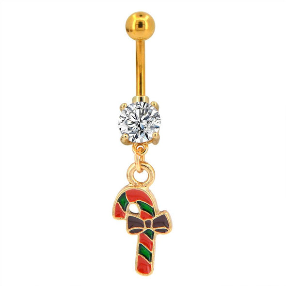 candy cane gold belly ring