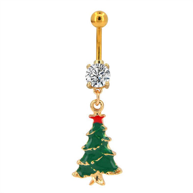 14G Surgical Stainless Steel Christmas Tree Belly Button Ring - OUFER BODY JEWELRY