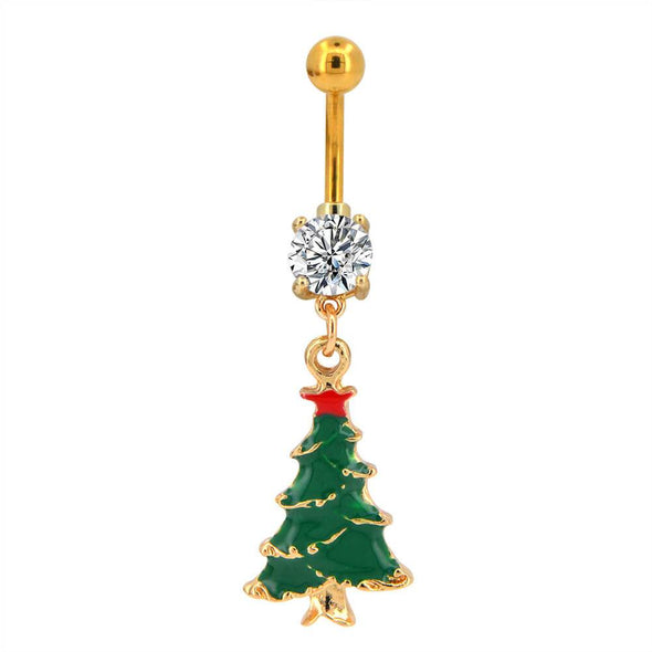 Christmas tree belly button ring