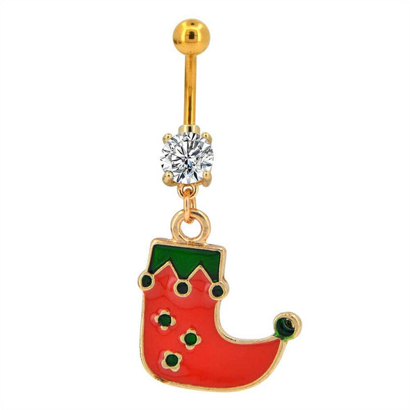 14G CZ Christmas Stocking Gold Dangle Belly Rings - OUFER BODY JEWELRY