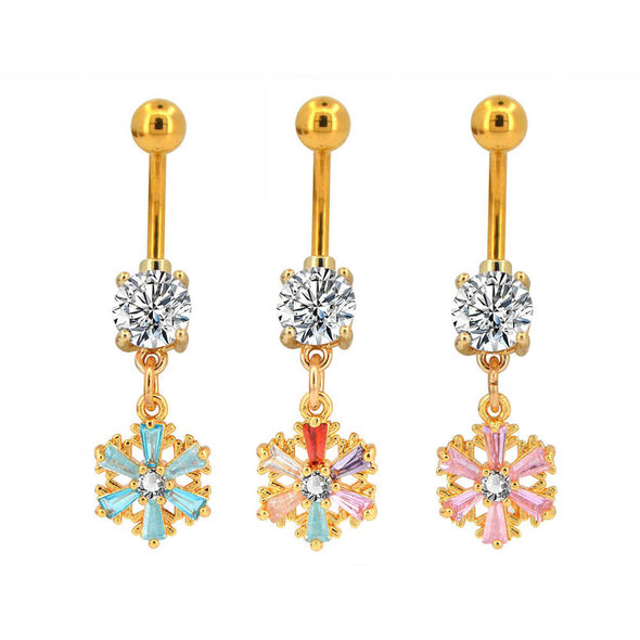 14G Rose Gold Steel Barbell Snowflake Sisters Belly Button Rings - OUFER BODY JEWELRY