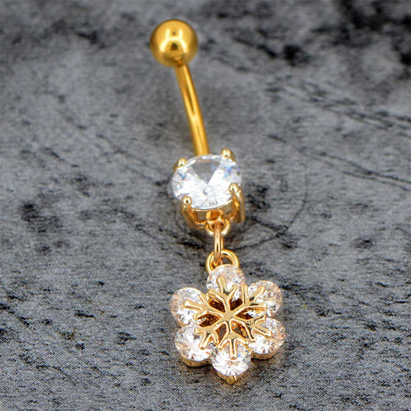 14G Golden Snowflower Belly Rings Christmas Holiday Belly Rings - OUFER BODY JEWELRY