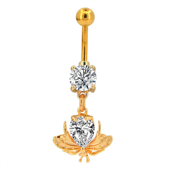 cz gold dangle belly button rings