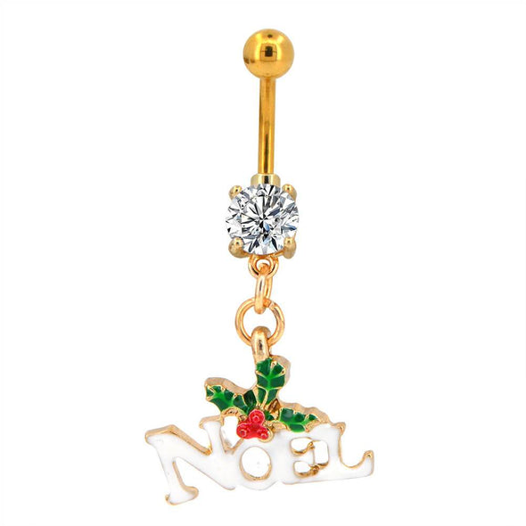 oufer mistletoe dangle belly button rings