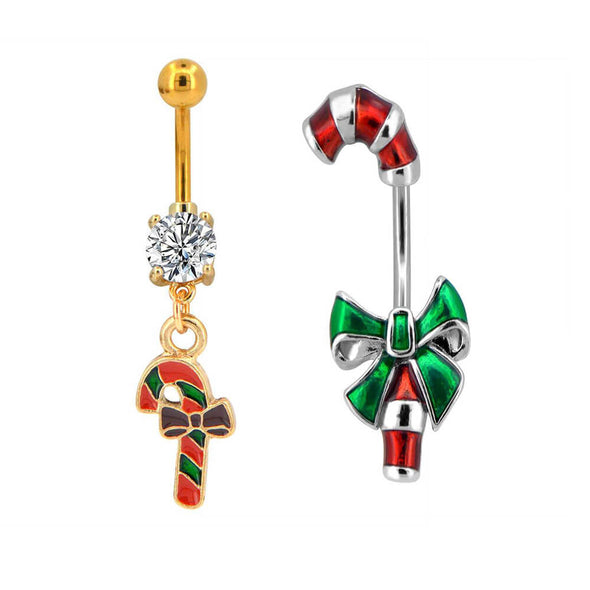 Christmas belly rings