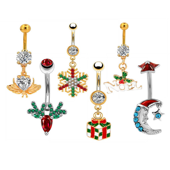 oufer christmas reindeer belly button rings