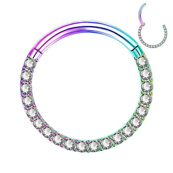 oufer clear CZ rainbow cartilage earring