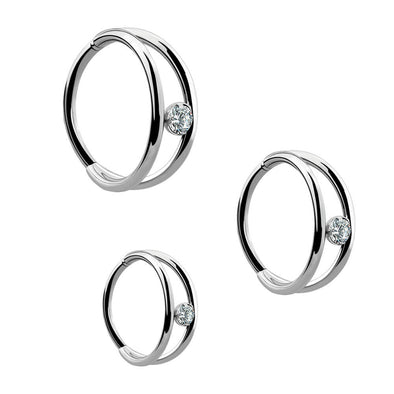 16g Double Ring CZ Segment Ring Septum Ring - OUFER BODY JEWELRY