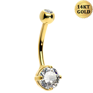 Solid 14KT Yellow Gold Round Solitaire Cubic Zirconia Belly Button Rings