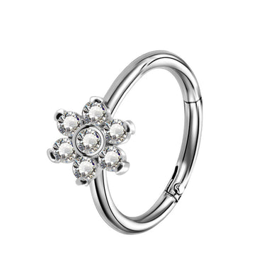 16G CZ Flower Hinged Segment Nose Ring Helix Earring - OUFER BODY JEWELRY