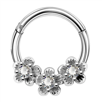 16G 8mm Septum Piercing Clear CZ Clicker Daith Earring Stainless Steel Flower Tragus Hoop