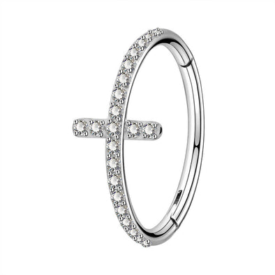 16G Cross Helix Earring CZ Cluster Hinged Segment Ring - OUFER BODY JEWELRY